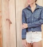 Camisa jeans manga longa feminina