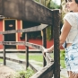 Jardineira jeans curta